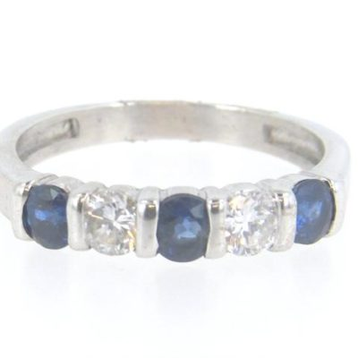 14kt White Gold Sapphire & Diamond Shared Setting Band Ring