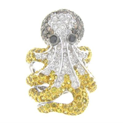 Tri-Color Diamond & Sapphire Octopus Cocktail Ring