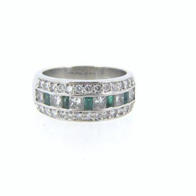 Platinum Diamond & Emerald Band