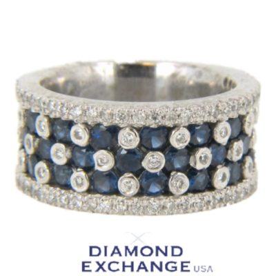 14kt White Gold Sapphire & Diamond Detail Band