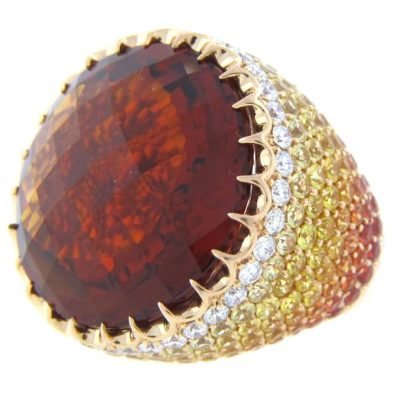 Citrine With Pave Ombre Diamond & Gemstones In Rose Gold