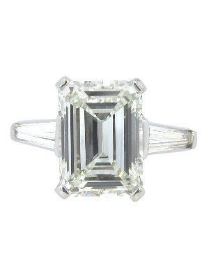 GIA Certified 4.92ct Emerald Cut Platinum Engagement Ring