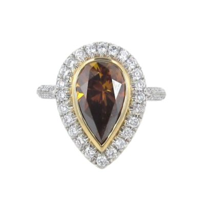 Platinum Brown Pear & Diamond Cocktail Ring