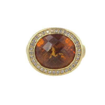18kt Yellow Gold Orange Citrine and Diamond Cocktail Ring