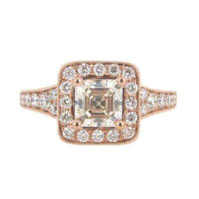 14kt Rose Gold 1.09ct Custom Asscher Cut Engagement Ring