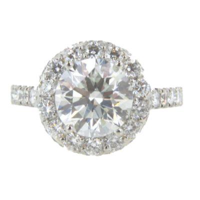Platinum 2.05ct Diamond Halo Engagement Ring