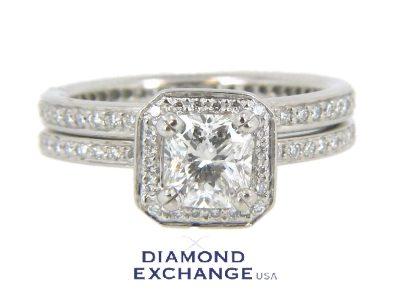 Platinum GIA .84ct Cushion Cut Diamond Ritani Wedding Set