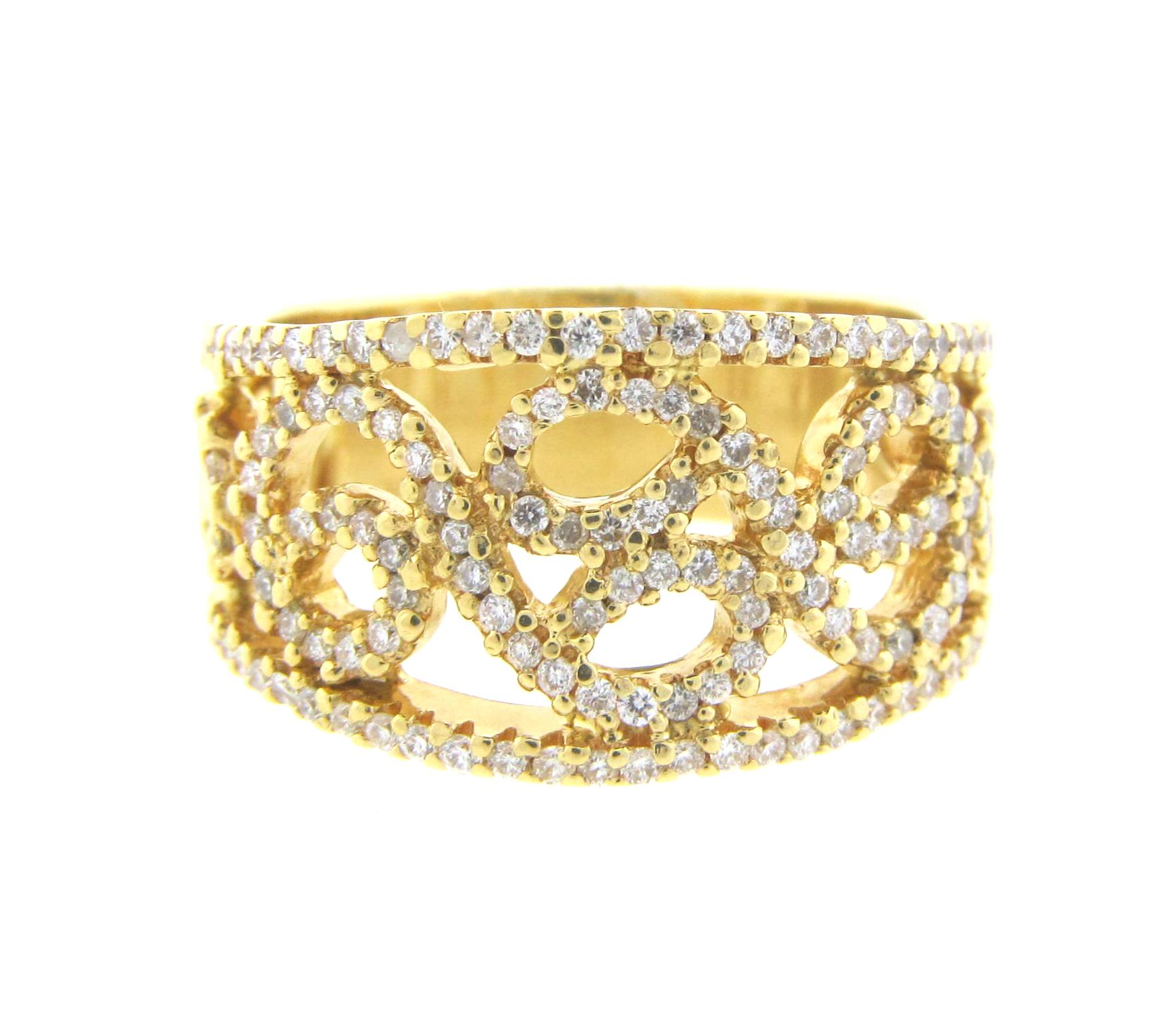 Pave swirl design band diamond exchange usa for Jewelry by design rockville md