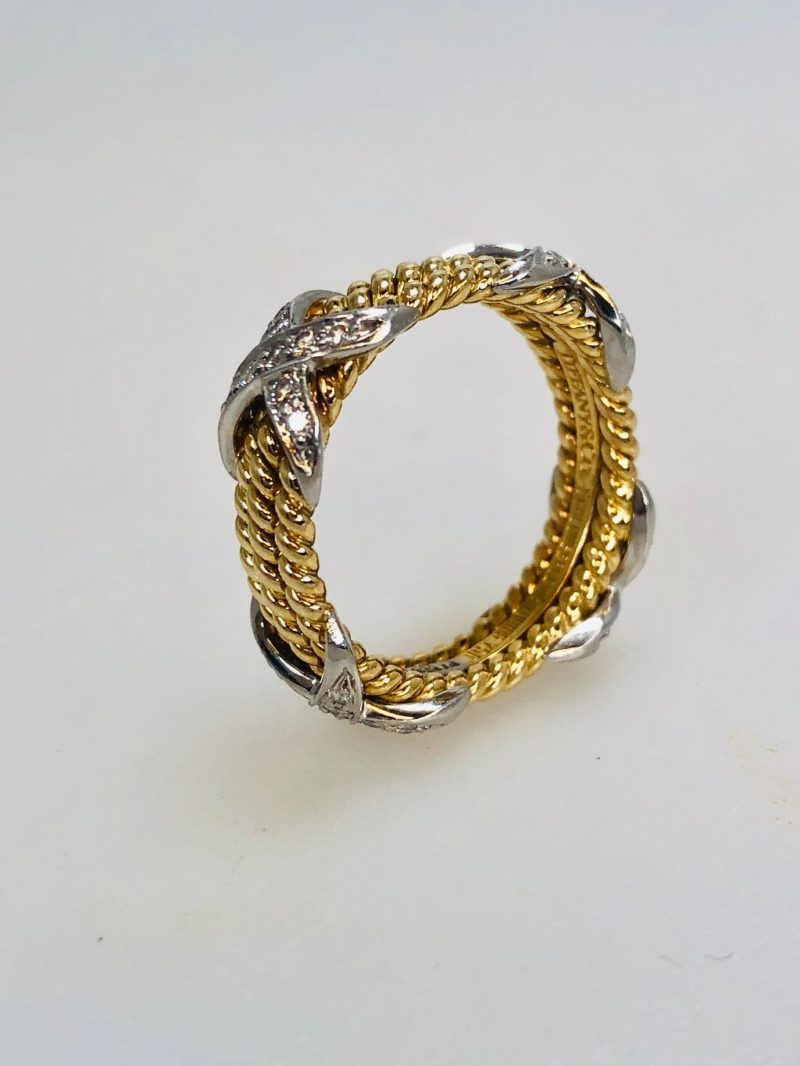 7d400e4457efd Tiffany & Co. 18k Gold Platinum Schlumberger Diamond Rope Three Row X Ring  Size 6