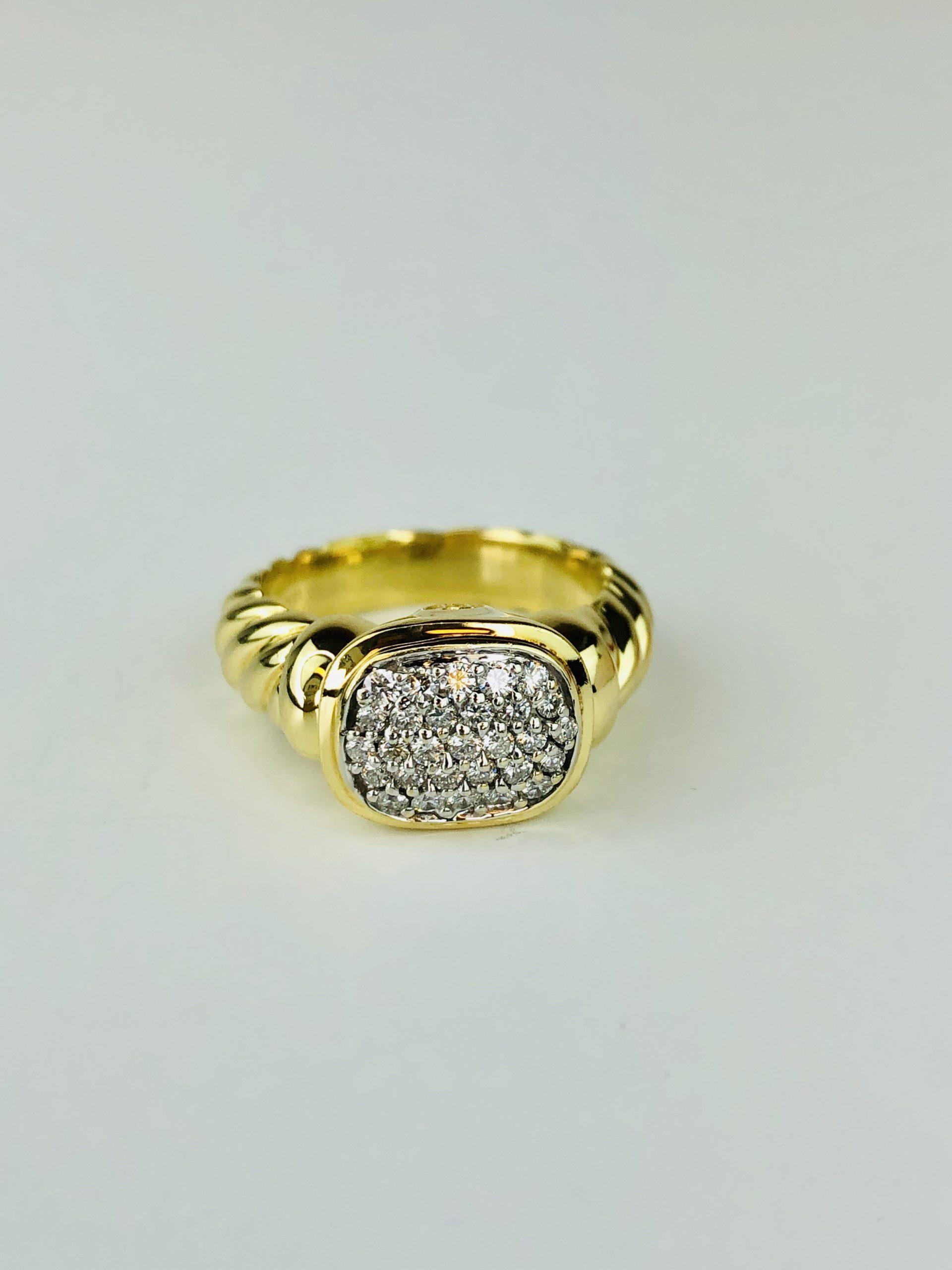 David Yurman 18k Yellow Gold Metro Cable Wide Band Diamond Ring Size 6 25 Diamond Exchange Usa